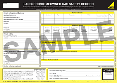 landlord and home safety certificate gas safe